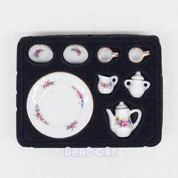 Wholesale Porcelain Tea Set Porcelain White Tea Set Afternoon Tea Miniature Toy Mini Doll Houses For Re ment Orcara Decoration