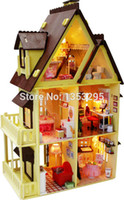 assembled dollhouses - DIY large wooden doll house educational toys large house d dollhouses assembled building model Creative Christmas gift