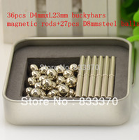magnetic balls - D4mm x L23mm bucky bars magnetic ball magnetic rods D8mm metal box package Nickel color