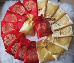 Small Silk Brocade Packaging Bags for Jewelry Storage Chinese Lucky Drawstring Christmas Wedding Party Favor Pouch Gold Candy Gift Bags
