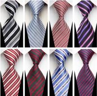 Wholesale New Men s Fashion Accessories Striped Jacquard Woven Classic Business Silk Tie Necktie for Men Black White Blue Red