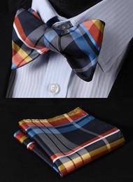Atacado-BC4010B Blue Orange Verifique clássico 100% Silk Woven Jacquard Men borboleta Auto Bow Tie BowTie bolso Praça Handkerchief Set Suit