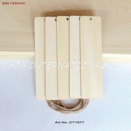 Оптово-(60pcs / много) Пустые фанеры теги закладки этикетки свадебные украшения деревянные со струнным висит-CT1077