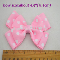 Wholesale DIY colors polka dots grosgrain ribbon handmade bows clip Baby Boutique bows hair pin accessories