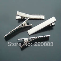 Wholesale Promotion single Prong metal clip Barrette diy Clips hair pin Rhodium Plated Aligator clips heawear HairOrnament46x8x10mm