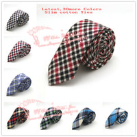 Wholesale Hot Sale Brand New Men Diomand Check Cotton Slim necktie Man Plaid Wedding Party Narrow Skinny Neck Ties colors in stock