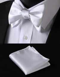 Wholesale Cravat Handkerchief Set - Wholesale-BL21W Purple White Solid 100%Silk Jacquard Woven Men Butterfly Self Bow Tie BowTie Pocket Square Handkerchief Hanky Suit Set