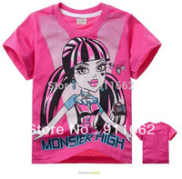Wholesale New Girls T Shirt Summer Cartoon Monster Shorts Tops For Yrs High Quality Girls O neck Cotton Casual Rose Clothing