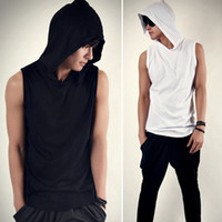 Wholesale man spring summer style Men s top tees Male casual sports style with a hood sleeveless vest fashion tank top