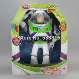 Wholesale High Quality Toy Story Buzz Lightyear cm Cartoon Action Figure PVC Toys With Elastic Wings Spanish English in Sound