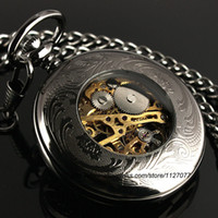 Wholesale Classic Steampunk Roman Dial Mechanical Skeleton Steel Mens Black Windup Pocket Watch