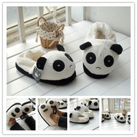 cheap slippers - Autumn And Winter Milk White Coral Fleece Lovers Slippers At Home Cotton Padded Floor Slippers Panda Shape Good Quality Cheap