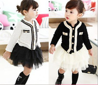 Wholesale EMS DHL White Black Fall Spring Long Sleeve pc set Cardigan tutu tiers skirt Children Clothing Years