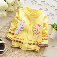 baby cardigan - Autumn Winter sweaters Kids Cartoon Cardigans bears knitwear baby infant casual sweater overcoat V966 B