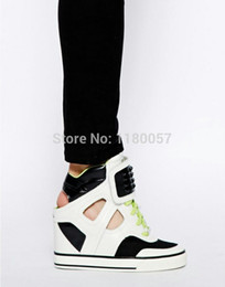 Wholesale Hot Sale DK NEW YORK GRACIE CUT OUT SNEAKER Women s Invisible high Wedges Lace Sneakers breathable Casual Shoes for students