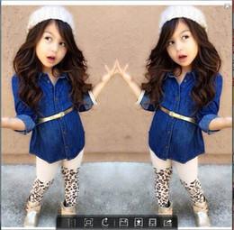 Wholesale EMS DHL baby girls toddlers pc Suit Denim dress Leopard Pants Belt children clothes Cool Girls Suit Casual Wear
