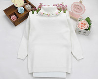 Wholesale baby girl fashion sweater winter autumn children floral turtleneck warm knitted pullovers bottom clothing