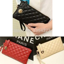 Monederos de las señoras de color beige en Línea-Las mujeres Al por mayor-De moda abren la caja de cuero de la PU de la caja del embrague de señora Long Handbag Wallet FULI