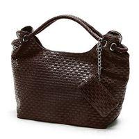 Wholesale Elegent Womens OL PU Leather Knitted Weave Tote Shoulder Bag Hobo Handbag Purse