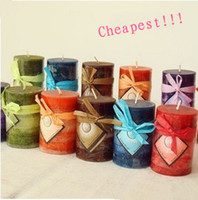 Wholesale Gradient romantic candle cylindrical spa essential oil scented candle smokeless candle Scented candles