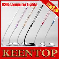 Cheap Wholesale-Metal frame! 1Pcs 10Led USB Led Light Cheap Usb Lighting Usb Reading Lamp For Laptop Notebook PC High Bright 6 Colors to Choose.