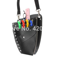 Wholesale New Professional Leather Rivet Clips Bag Salon Hair Scissors Hairdressing Holster Pouch Holder Case Black