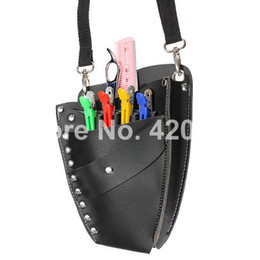 Wholesale-2015 New Professional Leather Rivet Clips Bag Salon Hair Scissors Hairdressing Holster Pouch Holder Case Black Free Shipping