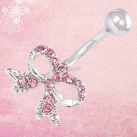 belly button stud - ES2306 Body Piercing Small Bowknot Belly Button Rhinestone Dangle Navel Ring Stud belly button ring