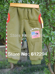 Wholesale winter fur inside warm baby pants American Flag thick baby clothing colors size QL85