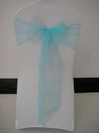 BABY BLUE organza chair sash chair bows 100pcs a lot for wedding,banquet,party,hotel use