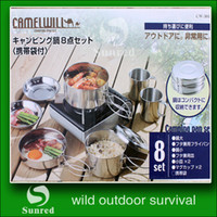 stainless steel cookware - Stainless steel Outdoor Camping Hiking Cookware Backpacking Cooking Picnic Bowl Pot Pan Set