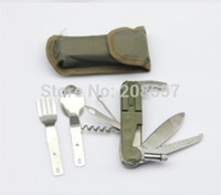 Wholesale New Outdoor Army Multifunction Folding Portable Camping Tool Fork Spoon Knife Light