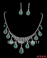 Cheap Wholesale-High Quality Costume Fancy Wedding Necklace Earrings Bride Wedding Rhinestone Jewelry Set Green series brisk sets