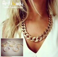 Cheap Wholesale-Artiliady fashion 7pcs stacking midi rings with 18k gold chain necklace hot sale