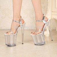 stripper shoes - Sexy cm Temptation Crystal Sandals Ultra High Thin Heels Platform Inch Clear Shoes Sexy Stripper Shoes
