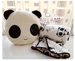 Promotion oreillers panda en peluche Coussin mignonne panda en peluche gros-Livraison Gratuite vacances vente anniversaire de la qualité de cadeau avec couverture chaude coussin en peluche peluche
