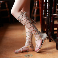 Wholesale-Free Shipping Women Sandal Pu Leather Women's Knee High Gladiator Sandal Shoes Cut-Out Flat Sandals Flip-Flop Sandals
