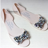 beaded jelly sandals - Transparent crystal jelly shoes glass sandals women s rhinestone beaded plastic flat plastic flat heel boots