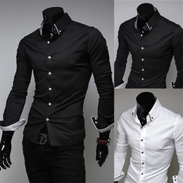 Wholesale-2015 Spring Men's Shirts Fashion Luxury Solid Color Casual Shirt Slim Long-sleeved Wedding Dress Shirt Men Camisetas