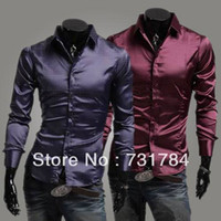 Cheap Wholesale-Free Shipping New 2015 Men's Purple Silk Shirt Mens Slim Fit Dress Shirts Sport Shiny Poplin Items Casual Men Shirts
