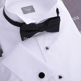 2017 boutons de manchette de smoking Gros-Men Tuxedo shirt, Français boutons de manchette banquet, petit col rabattu, haute quanlty 140'cotton fil, 100% gurantee, gratuit boutons de manchette de smoking sortie