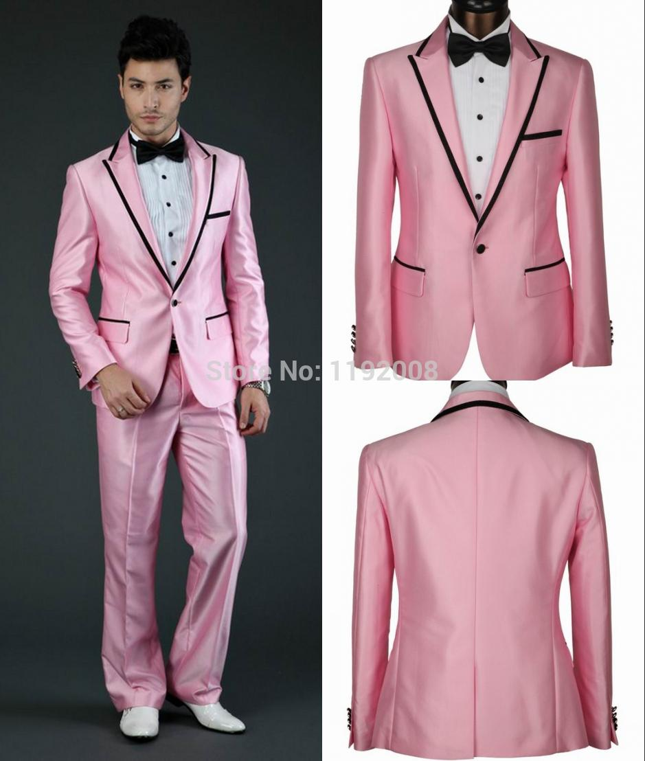 2017 Wholesale Pink Wedding Suit For Men 2015 Custom Made Groom ...