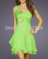 Cheap Wholesale-A line short one shoulder lime green bridesmaid dress wedding party dress Birthday knee length short dress in stock