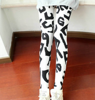 Wholesale White letter print leggings with Letters Women skeleton print leggings Gothic pants spring