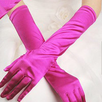 Wholesale pairs Freeshipping Satin Evening Bridal Gloves for Wedding Party Prom Opera Halloween Stretch Long Gloves Colors