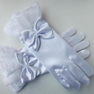 Wholesale-Child gloves primary school students s61 short white lace elastic satin bow flower girl gloves