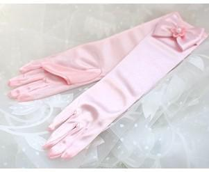 Wholesale-Free shipping Fashion Wedding Satin Lace Beads Fingerless Bridal Gloves for Flower girl