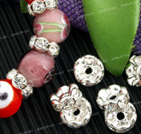 Wholesale 7MM Clear Rhinestone Beads Silver Plated Rondelle Spacer Beads Grade A Jewelry Fittings