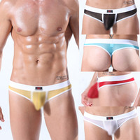 Cheap Wholesale-New Men's Low Rise Underwear See Through Thongs G-string Bulge Pouch T-back 5 Colors Free Shipping and Drop Shipping