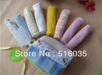 Wholesale Nice cotton soft baby towels Small jacquard square Hand Face bath wash cloth baby nursing handkerchief towel